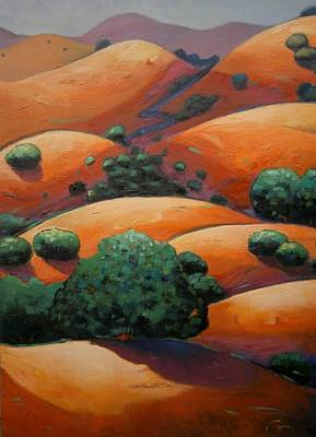 Warm Colors Painting - Warm Afternoon Light On Ca Hillside by Gary Coleman
