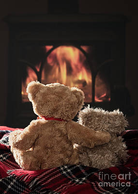 Warm And Cosy Teddies By The Fireside Art Print by Amanda Elwell