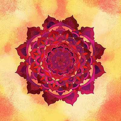 Zen Digital Art - Warm Autumn Mandala by Thubakabra