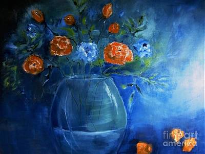 Digital Art - Warm Blue Floral Embrace Painting by Lisa Kaiser