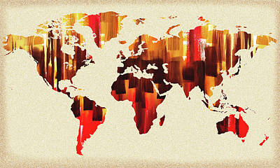 Painting - Warm Brush Strokes Watercolor World Map by Irina Sztukowski
