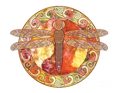 Print featuring the mixed media Warm Celtic Dragonfly by Kristen Fox