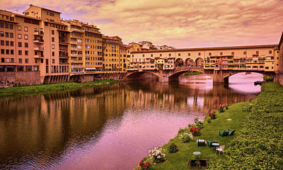 Photograph - Warm Colors Surround Ponte Vecchio by Fine Art Photography Prints By Eduardo Accorinti