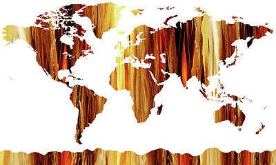 Painting - Warm Earthy Canvas World Map by Irina Sztukowski