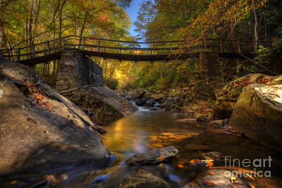 Photograph - Warm Fall Scene Of Stream Under A Bridge by Dan Friend