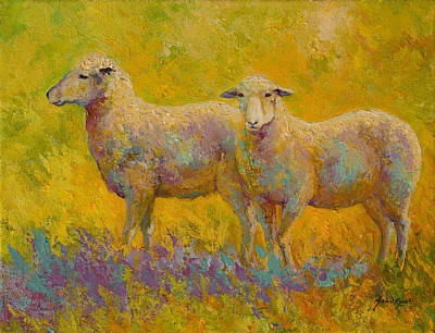Sheep Painting - Warm Glow - Sheep Pair by Marion Rose