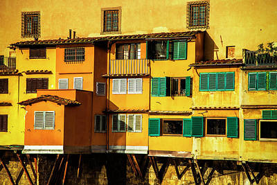 Warm Glow On The Ponte Vecchio Art Print by Andrew Soundarajan