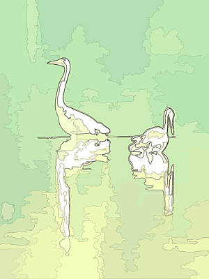 Photograph - Abstract Herons Warm Green by Keith Boone