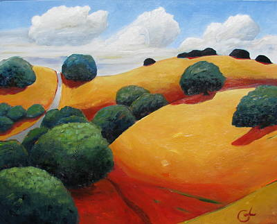 Tuscan Hills Painting - Warm Hills by Gary Coleman