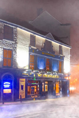 Photograph - Warm Irish Pub On A Cold Winter Night In Galway by Mark E Tisdale