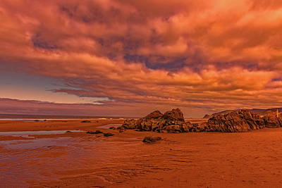 Photograph - Warm Light On Lincoln City Seaside by Brenda Jacobs