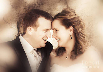 Newlyweds Photograph - Warm Soft Focus Picture Of Romantic Wedding Couple by Jorgo Photography - Wall Art Gallery
