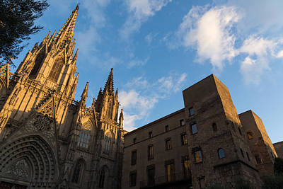 Photograph - Warm Sun Glow On The Cathedral Of Barcelona by Georgia Mizuleva