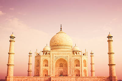 Photograph - Warm Taj Mahal Front View by Nila Newsom