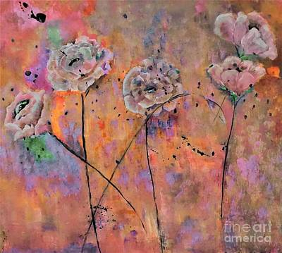 Painting - Warm Taupe Floral Painting by Lisa Kaiser