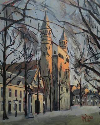 Maastricht Painting - Warm Winterlight Olv Plein by Nop Briex