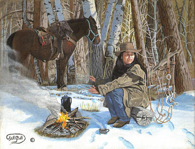 Colorado Fires Painting - Warming Hands - Cooling Coffee by Will Bell