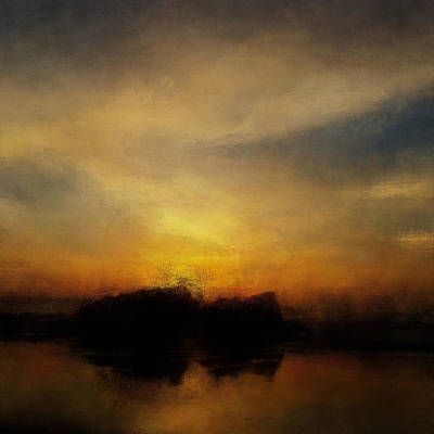 Abstract Landscape Mixed Media - Warming Light by Lonnie Christopher