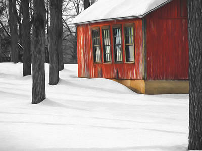 Barns In Snow Photograph - Warmth In The Cold by Steven Michael