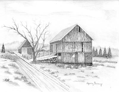 Old Barn Drawing - Warner Hill Farm by Kerry Facey
