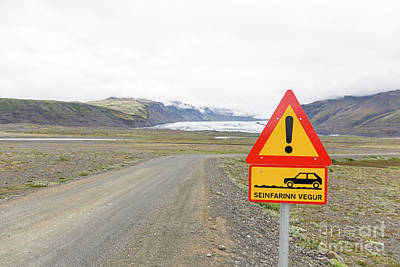 Photograph - Warning Road Sign Iceland by Edward Fielding