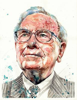 Bills Wall Art - Painting - Warren Buffett Portrait by Suzann's Art