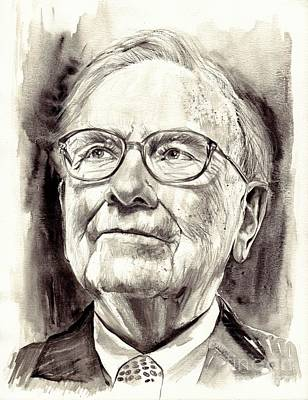Warren Buffett Watercolor Original
