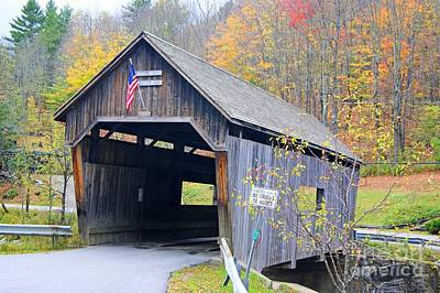 Photograph - Warren Covered Bridge In Vermont by David Birchall