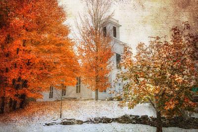 Fall Foliage Photograph - Warren United Church Of Christ by Joann Vitali