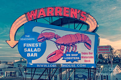 New Hampshire Photograph - Warrens Lobster House Neon Sign Kittery Maine by Edward Fielding
