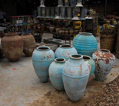 Earthenware Urn Photograph - Warrenton Texas Antique Days Urns by JG Thompson