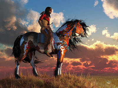 Paint Horse Digital Art - Warrior And War Horse by Daniel Eskridge