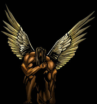 African-american Digital Art - Warrior Angel by Brandon Coley