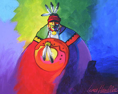 Native Painting - Warrior Colors by Lance Headlee