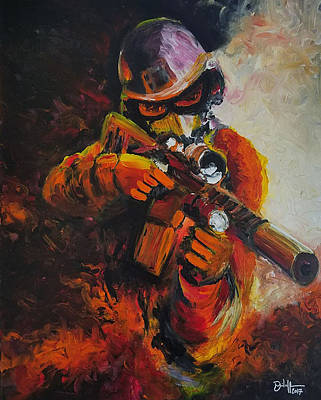Oif Painting - Warrior by David Powers