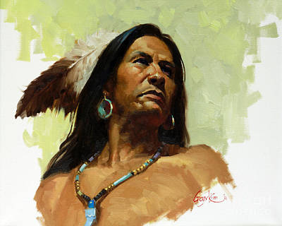 Indian Contemporary Artist Painting - Warrior De by Gary Kim