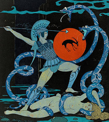 Damsel In Distress Painting - Warrior by Georges Barbier