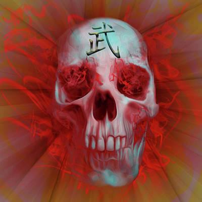 Digital Art - Warrior Kanji Skull by Vic Weiford