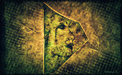 Glass Etching Painting - Warrior by M Images Fine Art Photography and Artwork