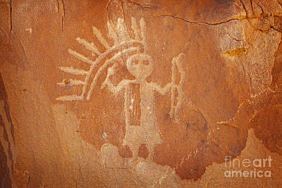 Photograph - Native American Warrior Petroglyph On Orange Sandstone by John Stephens