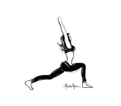 Drawing - Warrior Pose by Alma Ayon