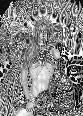 Tribal Women Drawing - Warrior Princess by Michael Reymann