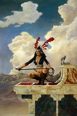 Barbarian Painting - Warrior Queen by Richard Hescox