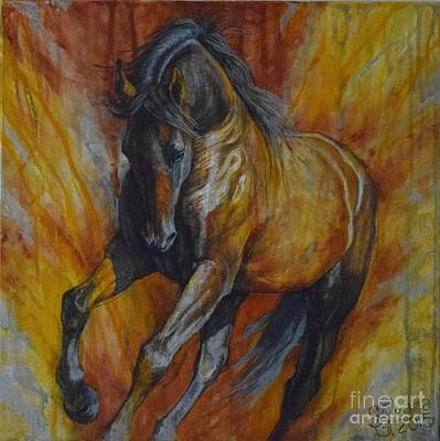 Equestrian Art Painting - Warrior by Silvana Gabudean Dobre