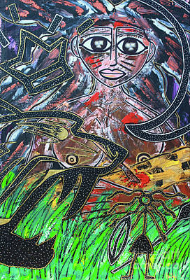 Painting - Warrior Spirit Woman by Odalo Wasikhongo