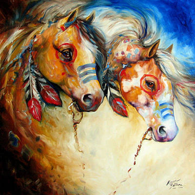Indian Pony Painting - Warrior Spirits Two by Marcia Baldwin