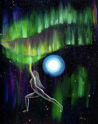 Painting - Warrior Yoga Goddess In Aurora Borealis by Laura Iverson