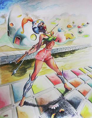Warrioress Painting - Warrioress 1 by Robert Decurey