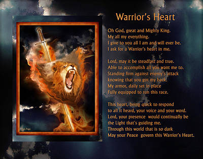 Digital Art - Warrior's Heart Poetry by Jennifer Page
