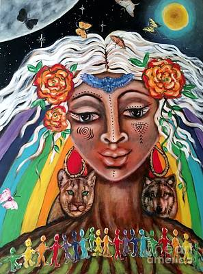 Sacred Feminine Moon Mixed Media - Warriors Of The Rainbow by Maya Telford
